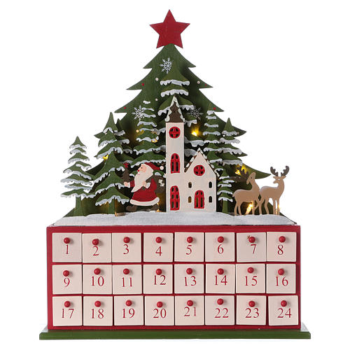 Advent calendar in wood 40 cm with church and LED lights 1