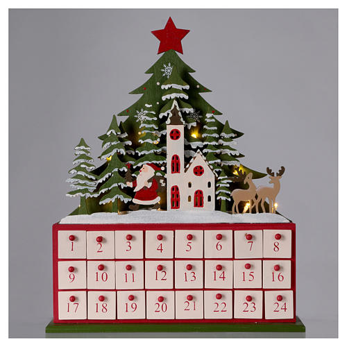 Advent calendar in wood 40 cm with church and LED lights 2