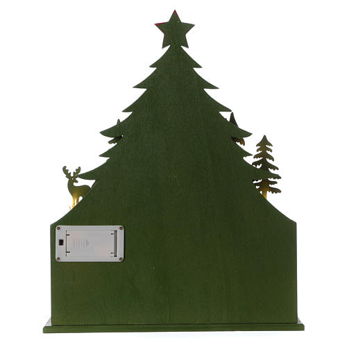 Advent calendar in wood 40 cm with church and LED lights 6