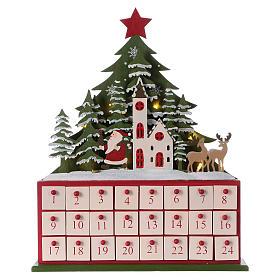 Kalendarz adwentowy 40 cm kościół z drewna LED s1