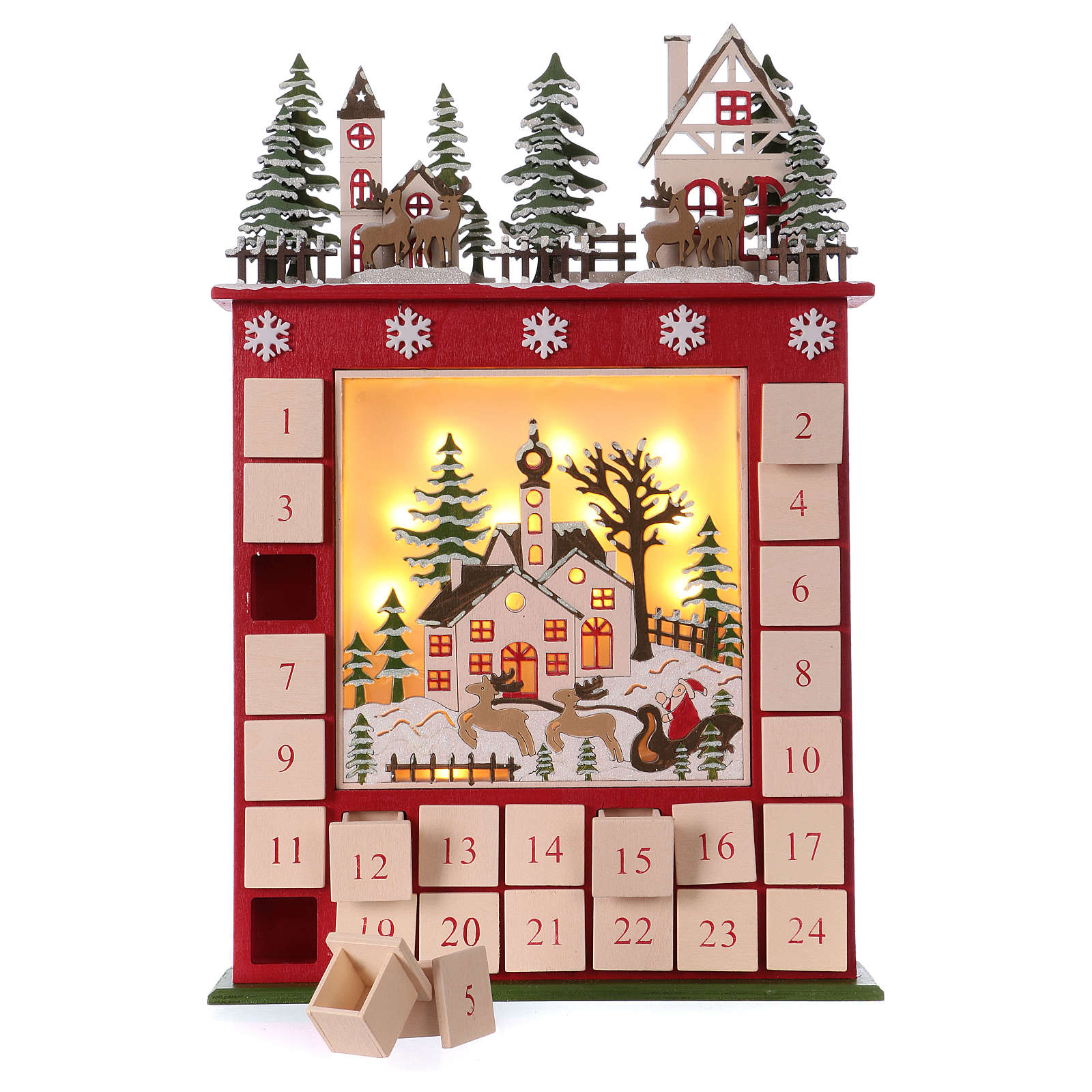 Advent calendar in wood 45 cm with landscape and LED lights 3
