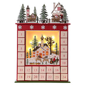 Advent calendar in wood 45 cm with landscape and LED lights s1