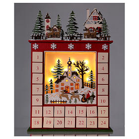Advent calendar in wood 45 cm with landscape and LED lights s2