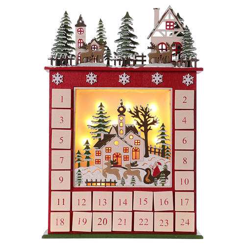 Advent calendar in wood 45 cm with landscape and LED lights 1