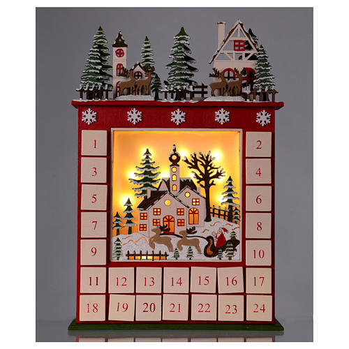 Advent calendar in wood 45 cm with landscape and LED lights 2