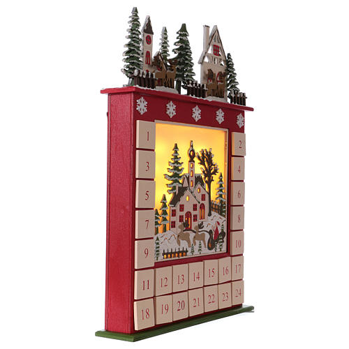 Advent calendar in wood 45 cm with landscape and LED lights 4