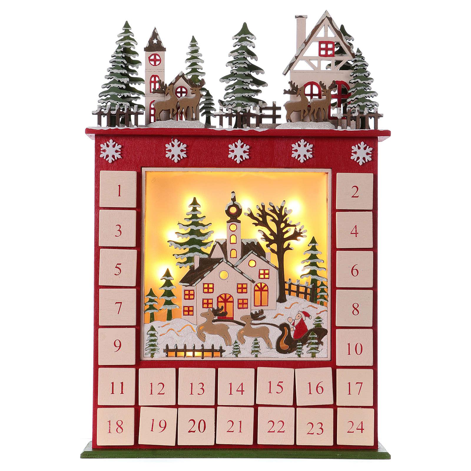 Adviento Calendario.Calendario De Adviento 45 Cm De Madera Paisaje Y Led