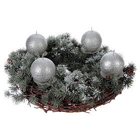 Advent wreath kit with larch wreath, candles and candle supports s1