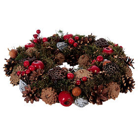 Advent Wreath with Apples and Pine Cones 34 cm s1