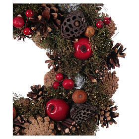 Advent Wreath with Apples and Pine Cones 34 cm s2