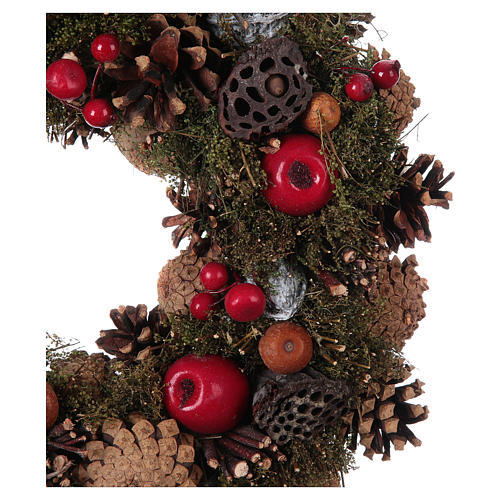 Advent Wreath with Apples and Pine Cones 34 cm 2