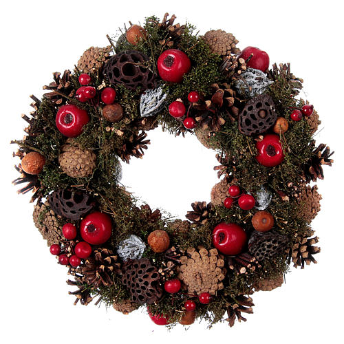 Advent Wreath with Apples and Pine Cones 34 cm 3