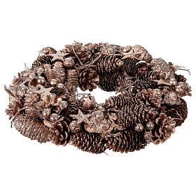 Advent wreath in wood, golden-decorated diam. 34 cm s1
