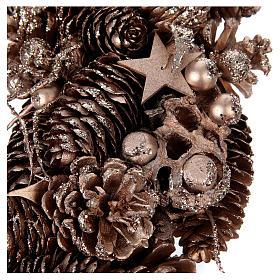 Advent wreath in wood, golden-decorated diam. 34 cm s2