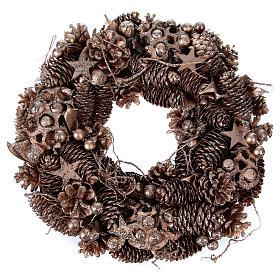 Advent wreath in wood, golden-decorated diam. 34 cm s3