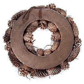 Advent wreath in wood, golden-decorated diam. 34 cm s4