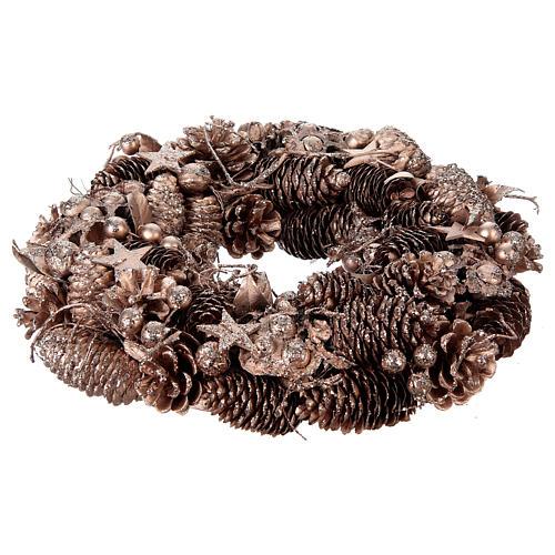 Advent wreath in wood, golden-decorated diam. 34 cm 1