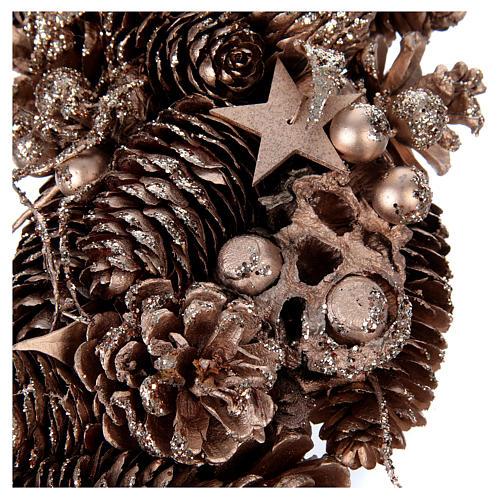 Advent wreath in wood, golden-decorated diam. 34 cm 2