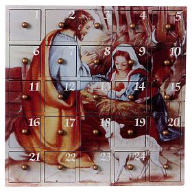 Advento: Calendário Advento Natividade 23x23x6 cm madeira