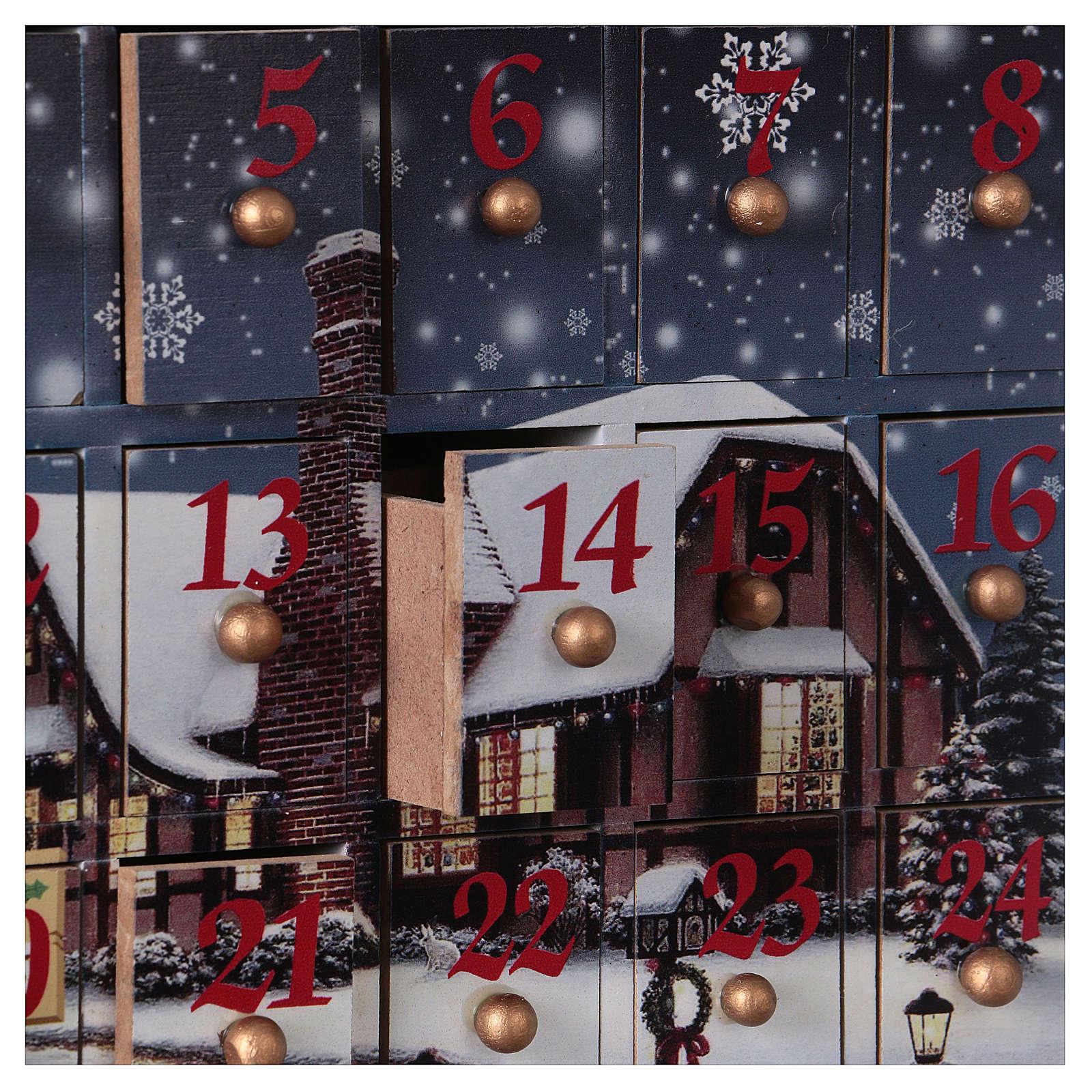 Calendario dell'Avvento 30 cm legno paesaggio 30x30x8 3