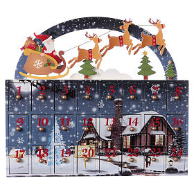Calendario dell'Avvento 30 cm legno paesaggio 30x30x8 s1