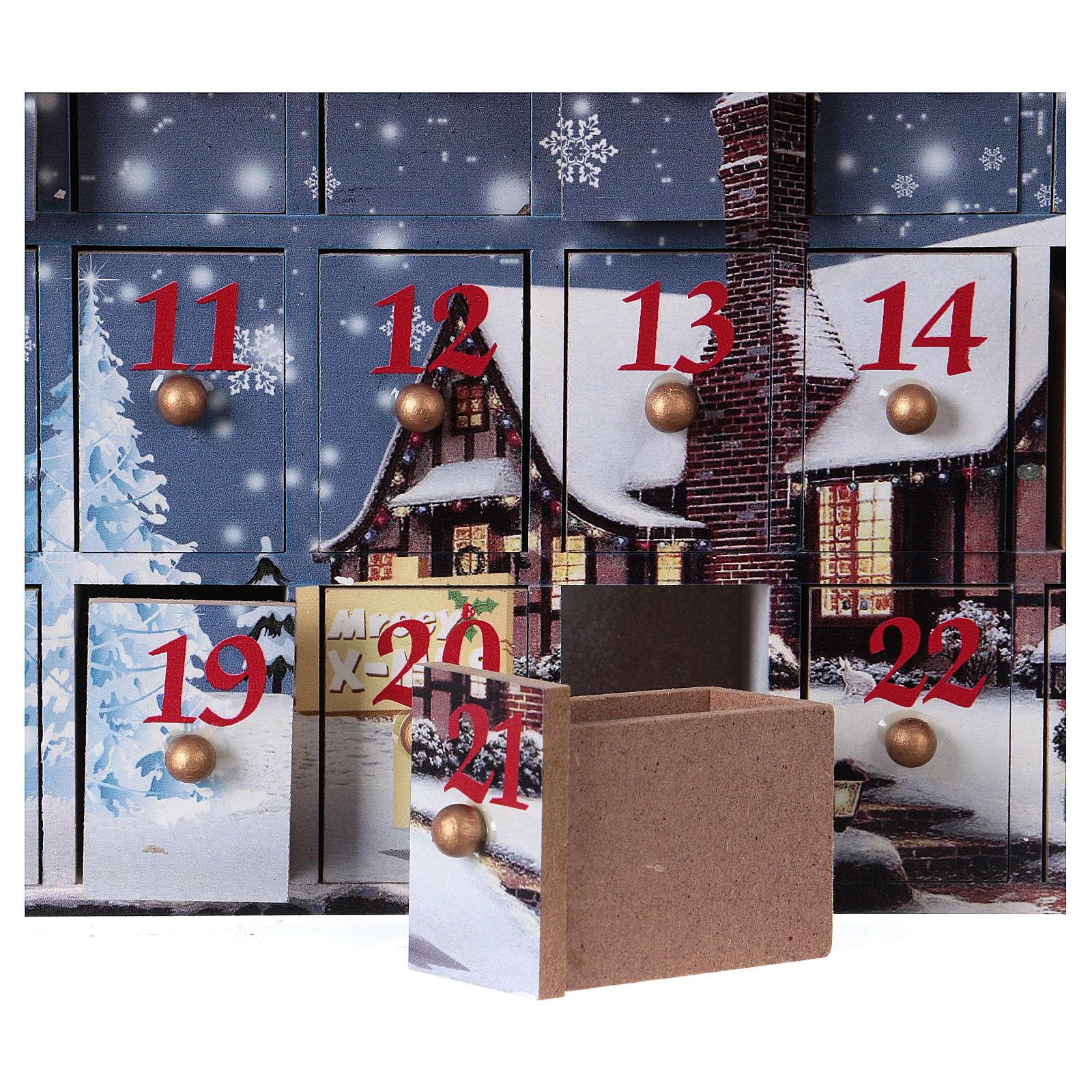 Kalendarz Adwentowy 30 cm drewno pejzaż 30x30x8 cm 3