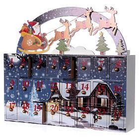 Kalendarz Adwentowy 30 cm drewno pejzaż 30x30x8 cm s3