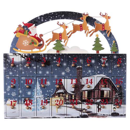 Kalendarz Adwentowy 30 cm drewno pejzaż 30x30x8 cm 1
