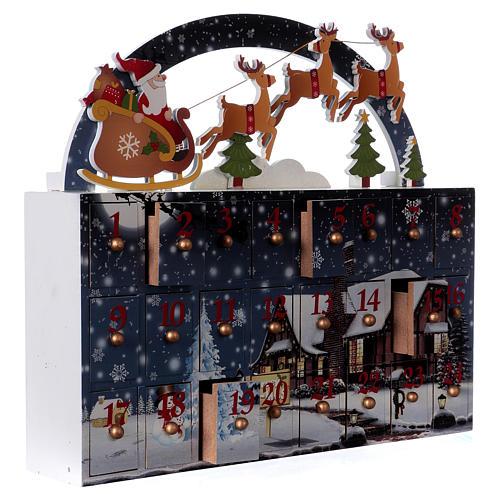 Kalendarz Adwentowy 30 cm drewno pejzaż 30x30x8 cm 4