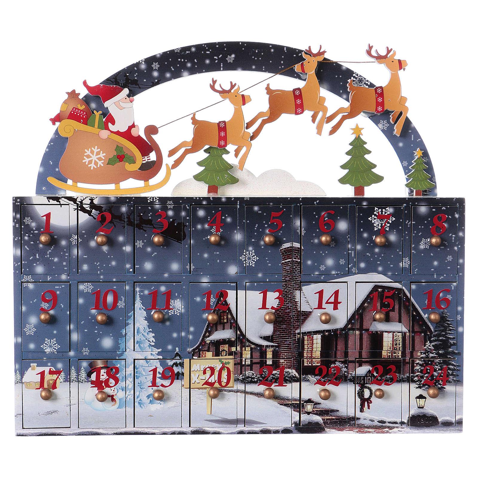 Wooden Christmas Advent Calendar 30 cm, 30x30x8 3