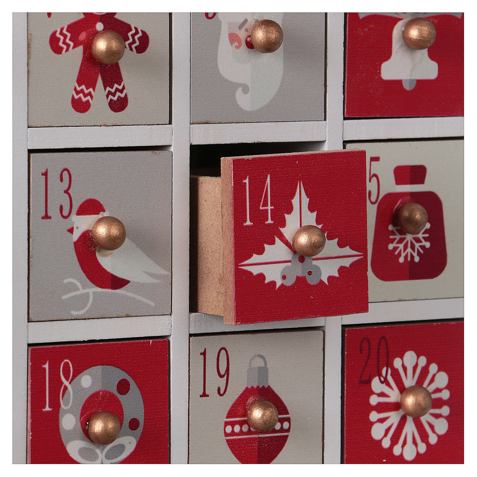Advent calendar in wood with Christmas 30 cm 3