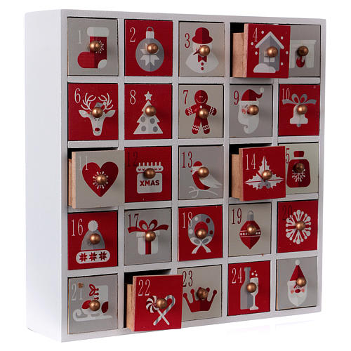 Advent calendar in wood with Christmas 30 cm 4