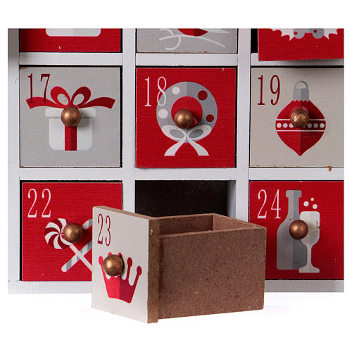 Advent calendar in wood with Christmas 30 cm 5