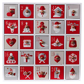 Christmas Advent Calendar 30 cm, in wood s1