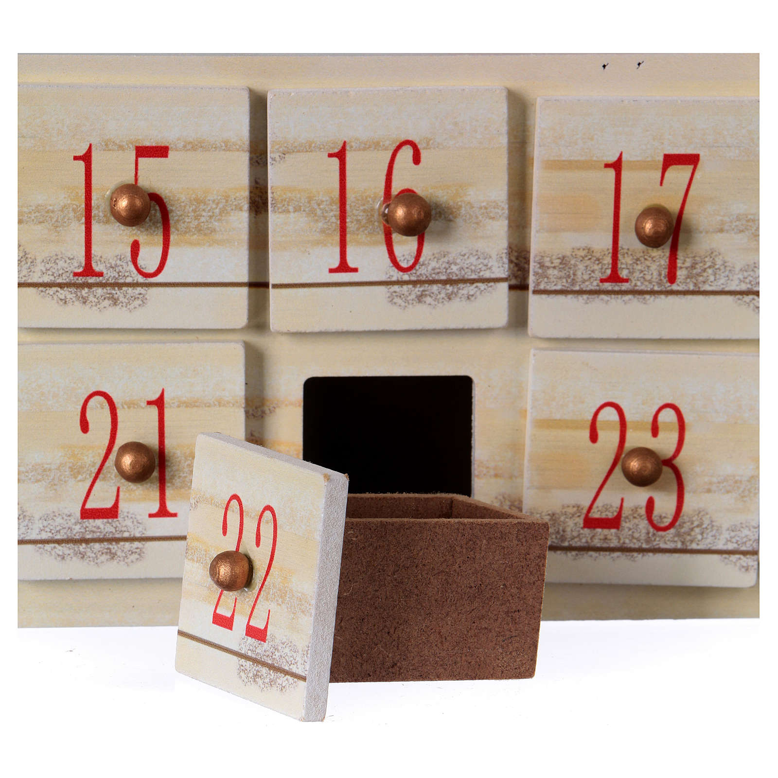 Advent calendar in wood with landscape 48 cm 3