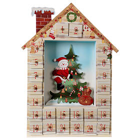 Advent calendar in wood with landscape 48 cm s1