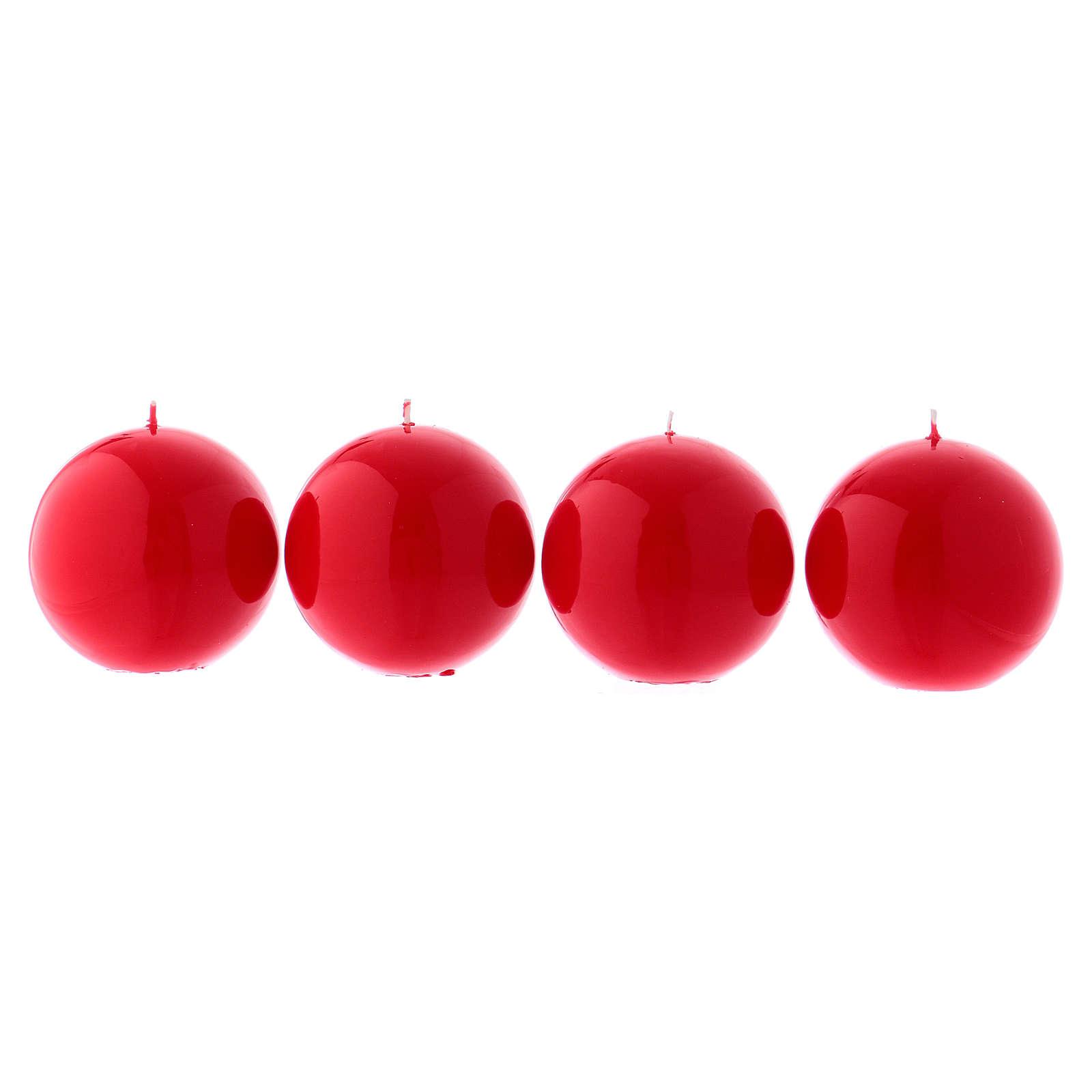 Velas para Advento 4 esferas brilhantes vermelhas 10 cm 3