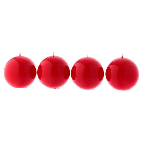 Velas para Advento 4 esferas brilhantes vermelhas 10 cm 1