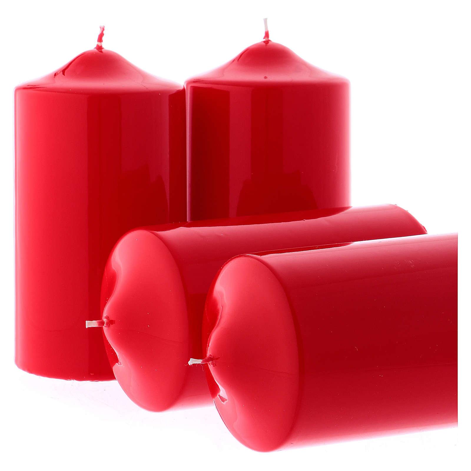 Candele lucide rosse per l' Avvento kit 8x15 cm 3