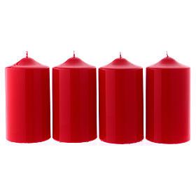 Candele lucide rosse per l' Avvento kit 8x15 cm s1