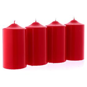 Candele lucide rosse per l' Avvento kit 8x15 cm s3