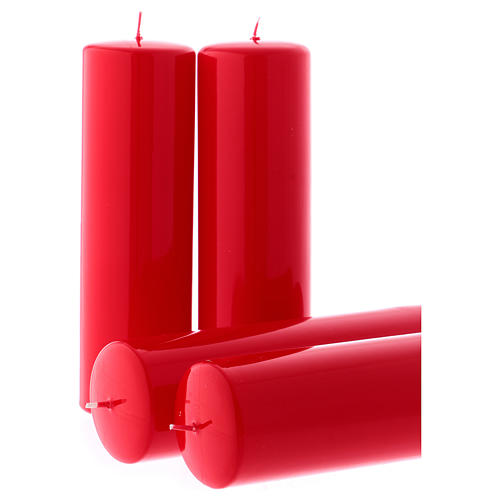 Red Advent candles, glossy 6x20 cm 4 pcs 2