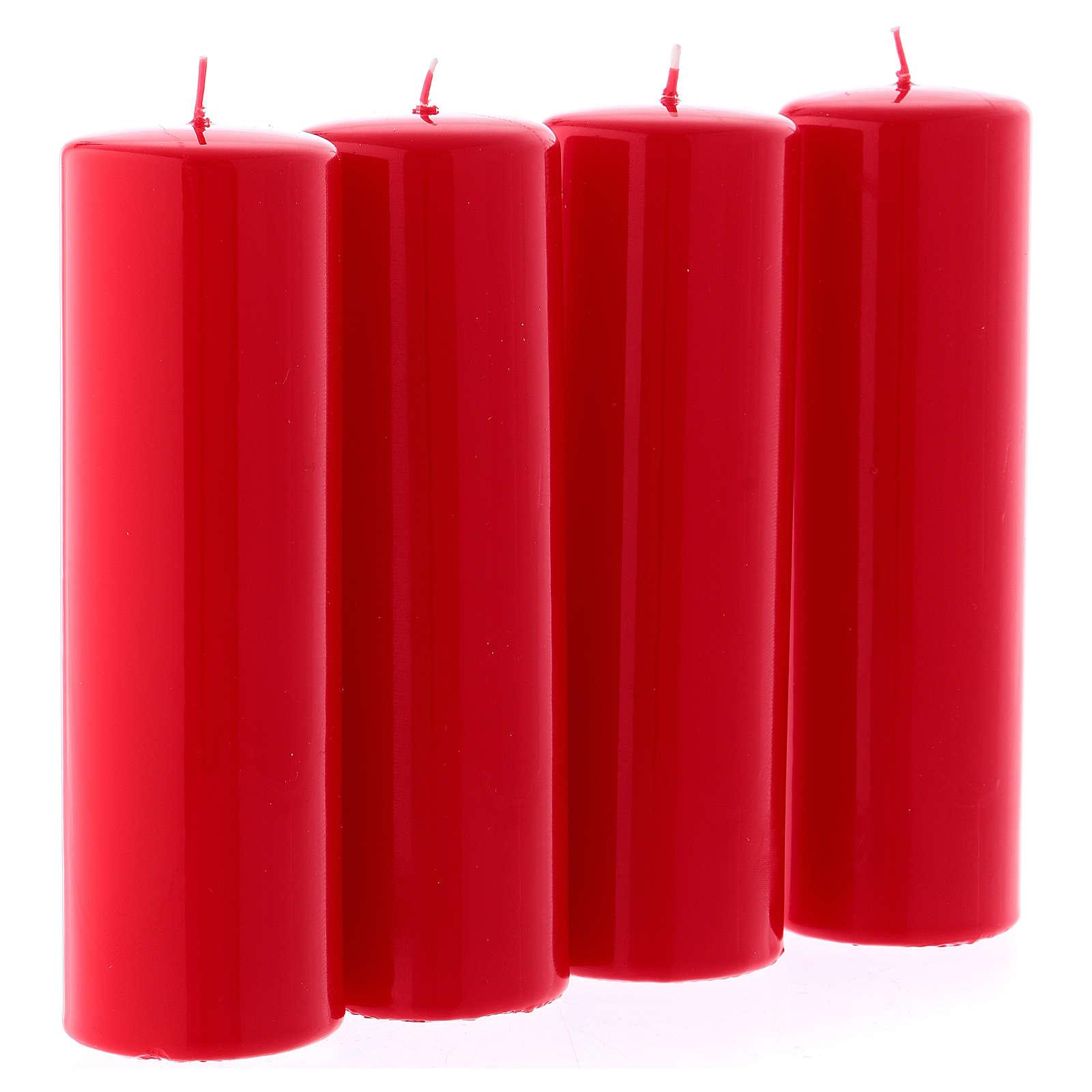 Kit 4 bougies rouges brillantes pour l'Avent 6x20 cm 3