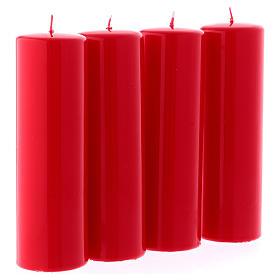 Kit 4 bougies rouges brillantes pour l'Avent 6x20 cm s3