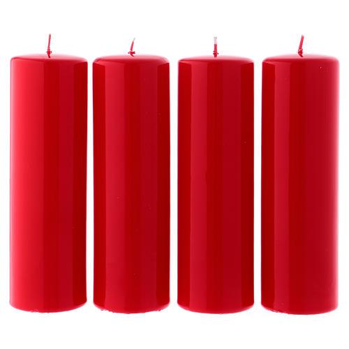 Kit 4 bougies rouges brillantes pour l'Avent 6x20 cm 1