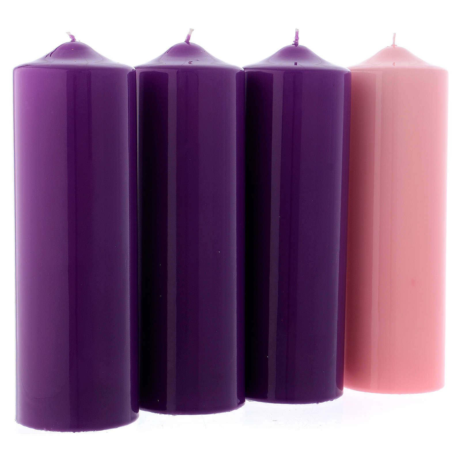 Advent Candle Set of 4, in glossy pink and purple 8x24 cm 3
