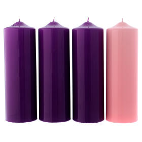 Advent Candle Set of 4, in glossy pink and purple 8x24 cm s1