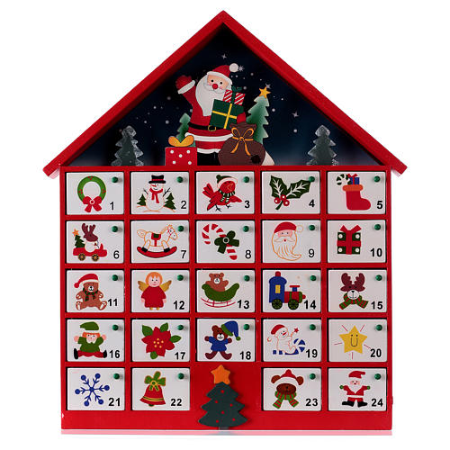 Advent calendar, red wood house 20x35x5 cm 1