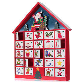 Calendario de adviento casa de madera roja 20x35x5 cm s2