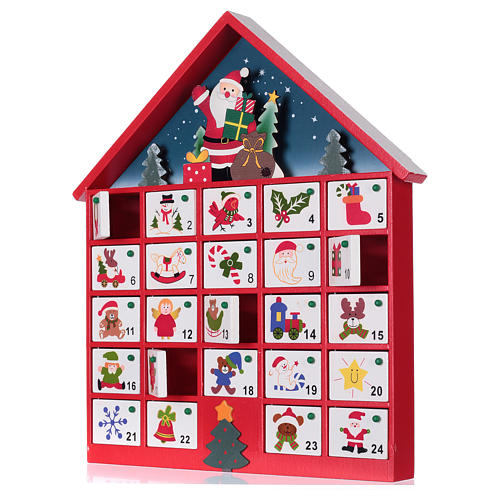 Calendario de adviento casa de madera roja 20x35x5 cm 2